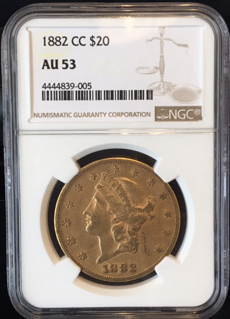 1882-CC $20 Liberty NGC AU53 Carson City Gold