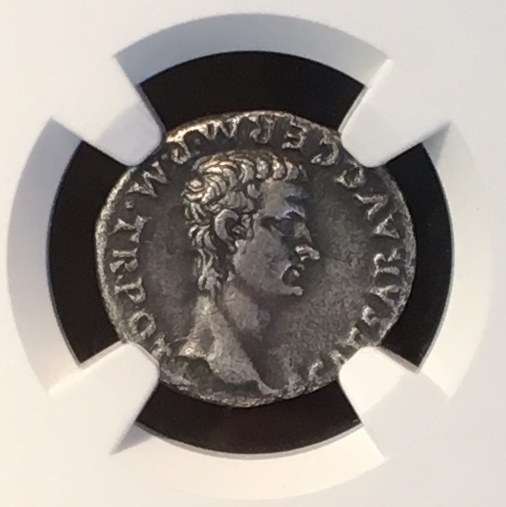 "Load image into Gallery viewer, Caligula Silver Denarius ""4th of the Twelve Caesars"" NGC XF 4×3"