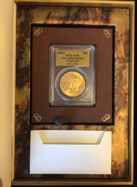 Load image into Gallery viewer, 1856-S $20 Lib PCGS AU58 S.S. Central America Shipwreck