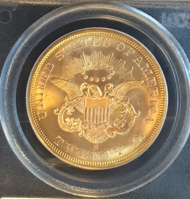 1857-S $20 Liberty PCGS MS65 CAC SS Central America