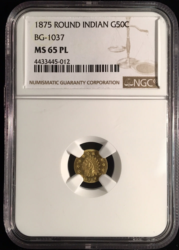 Load image into Gallery viewer, 1875 California Fractional Gold BG-1037 50c NGC MS 65 PL