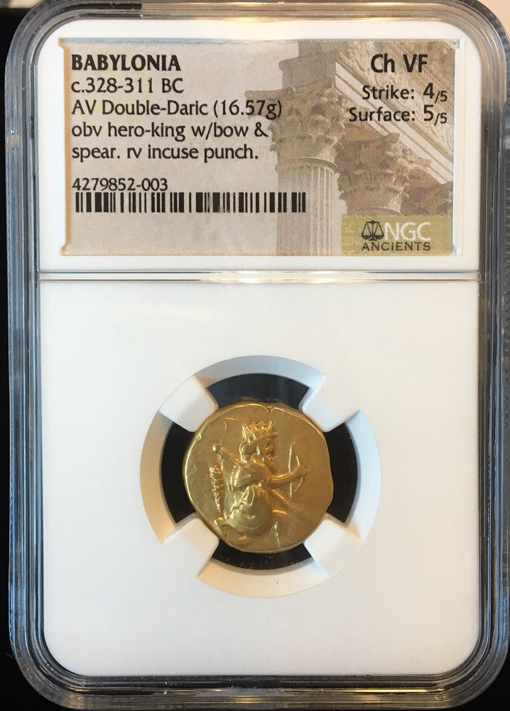 Load image into Gallery viewer, Unique Babylonian Gold Double Daric 328-311bc NGC Ch VF with Club symbol