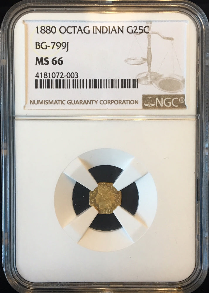 1880 California Fractional Gold BG-799J 25c NGC MS 66