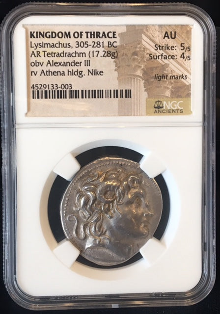 Load image into Gallery viewer, Lysimachus Silver Tetradrachm NGC AU 5x4 Top 100 Ancient