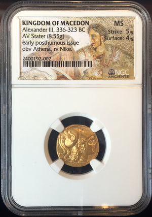 Kingdom of Macedon, Alexander The Great Gold Stater NGC MS
