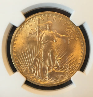 1908 No Motto $20 Saint Gaudens NGC MS 67