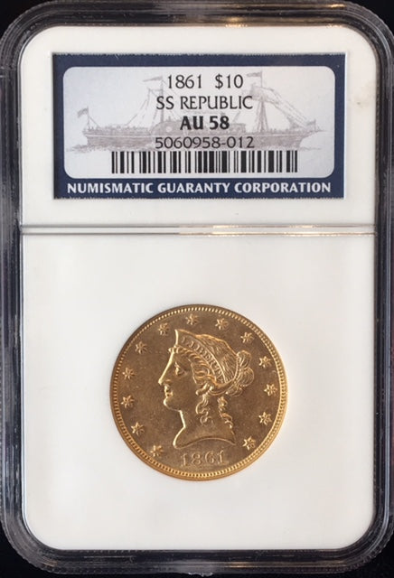 SS Republic Shipwreck Gold 1861 $10 Liberty NGC AU58 PQ!