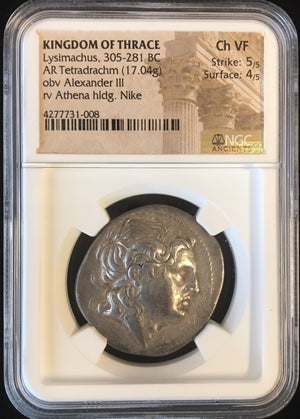 Load image into Gallery viewer, Lysimachus Silver Tetradrachm NGC CH VF