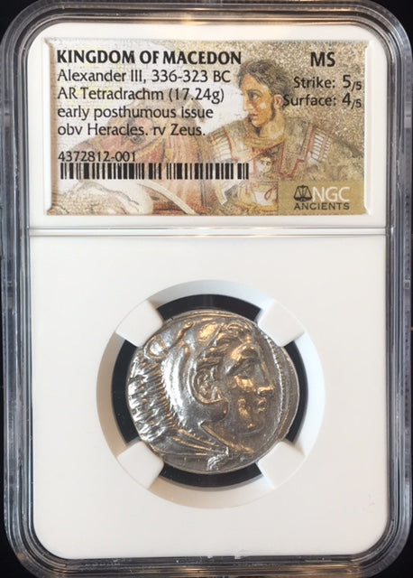 Kingdom of Macedon, Alexander The Great silver Tetradrachm NGC MS