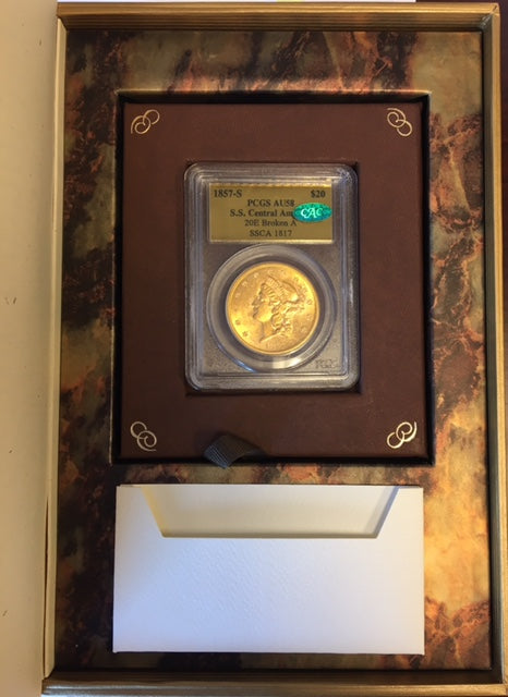 Load image into Gallery viewer, 1857-S $20 Liberty PCGS AU 58 CAC S.S. Central America Shipwreck