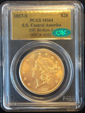 1857-S $20 Liberty PCGS MS64 CAC SS Central America