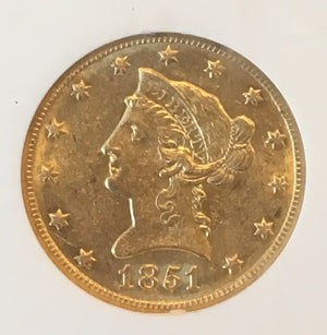 1851-O $10 Liberty NGC AU58 SS Republic Shipwreck Gold