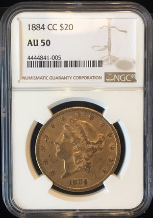 Load image into Gallery viewer, 1884-CC $20 NGC AU50 Carson City Gold