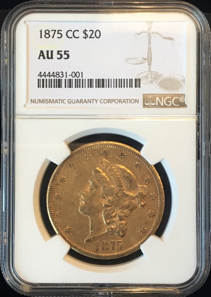 Load image into Gallery viewer, 1875-CC $20 Liberty NGC AU55 Carson City Gold