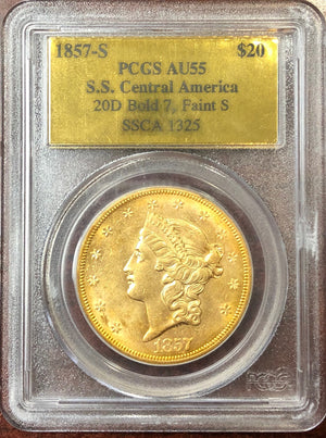 Load image into Gallery viewer, 1857-S $20 Liberty PCGS AU55 SS Central America Shipwreck