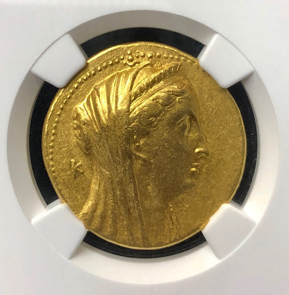 Arsinoe II Gold Octodrachm NGC CHXF 5x3