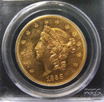 1856-S $20 Liberty PCGS AU58 CAC S.S. Central America