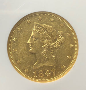 SS Republic Gold 1847 $10 Liberty NGC AU55