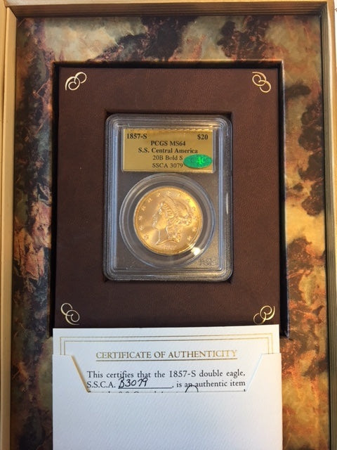 1857-S $20 Liberty Gold Double Eagle PCGS MS64 CAC SS Central America Shipwreck