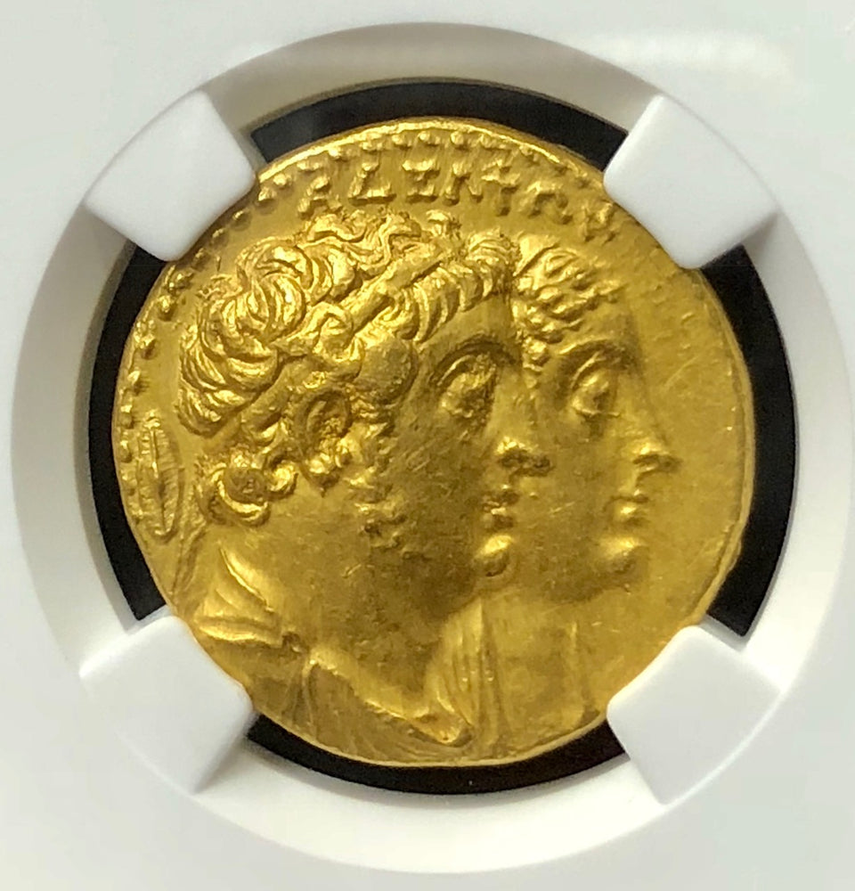 Ptolemaic Kingdom Ptolemy II Gold Octodrachm NGC AU 4x4