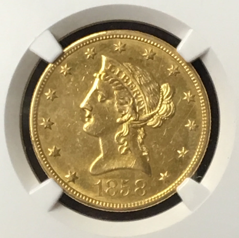 Load image into Gallery viewer, 1858-O $10 Liberty NGC AU58 New Orleans Gold Eagle