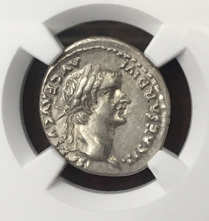 Load image into Gallery viewer, Twelve Caesars Tiberius Silver Denarius NGC CHAU 5x4