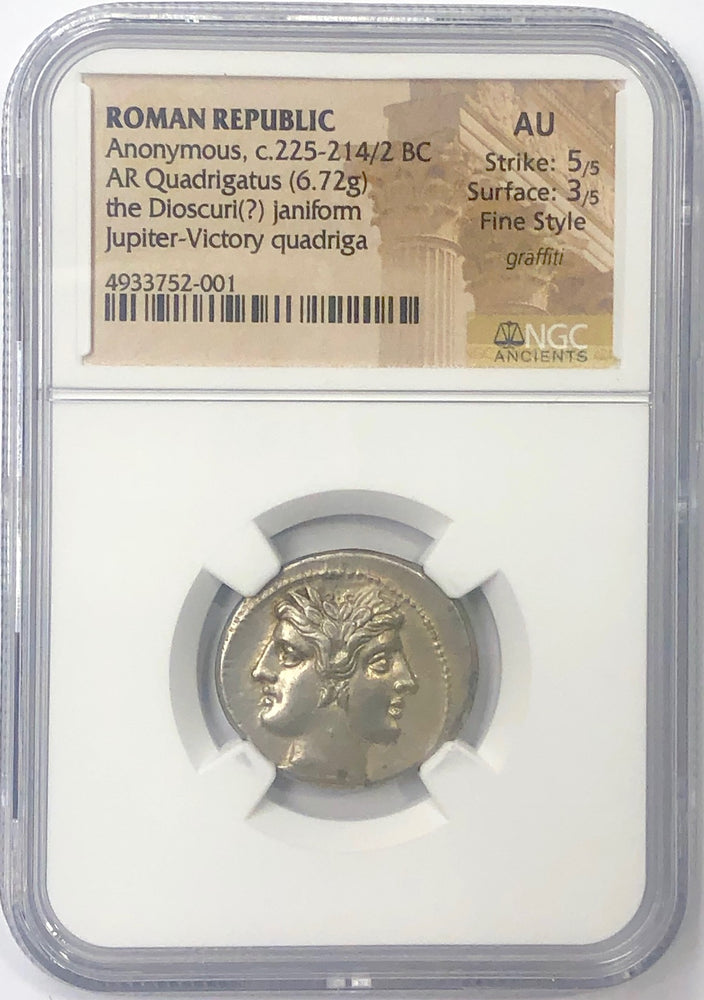 Load image into Gallery viewer, Roman Silver Quadrigatus Janiforn NGC AU Fine Style