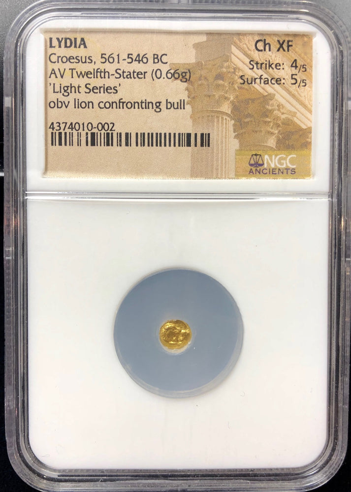 "King Croesus Gold 1/12 Stater ""Light Series"" NGC CHXF 4x5"