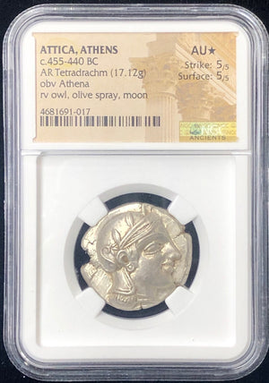 Early transitional Attica Athens Owl Silver NGC AU Star