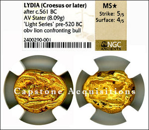 Lydia (Croesus or later) AV Stater NGC MS star 5x4