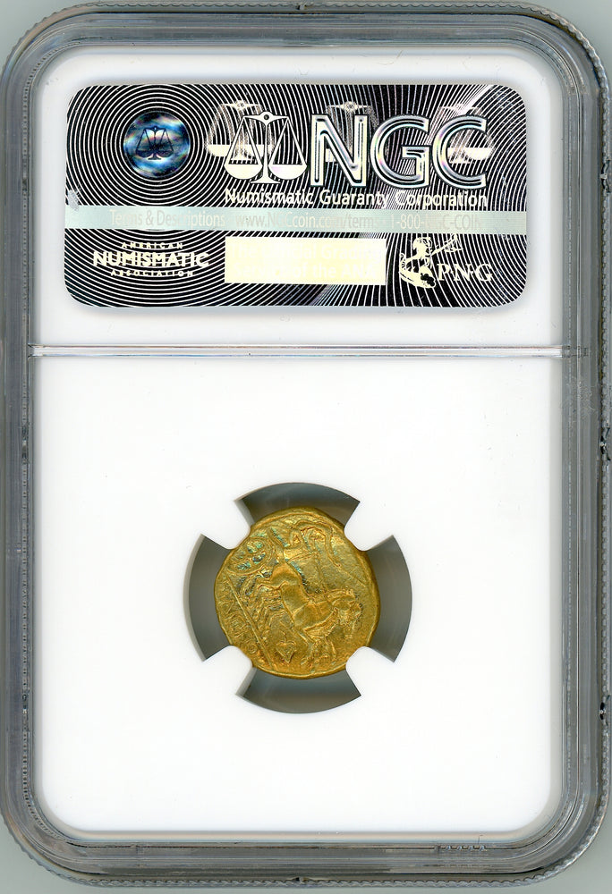 Kingdom of Macedon, Philip II gold Stater NGC Ch AU