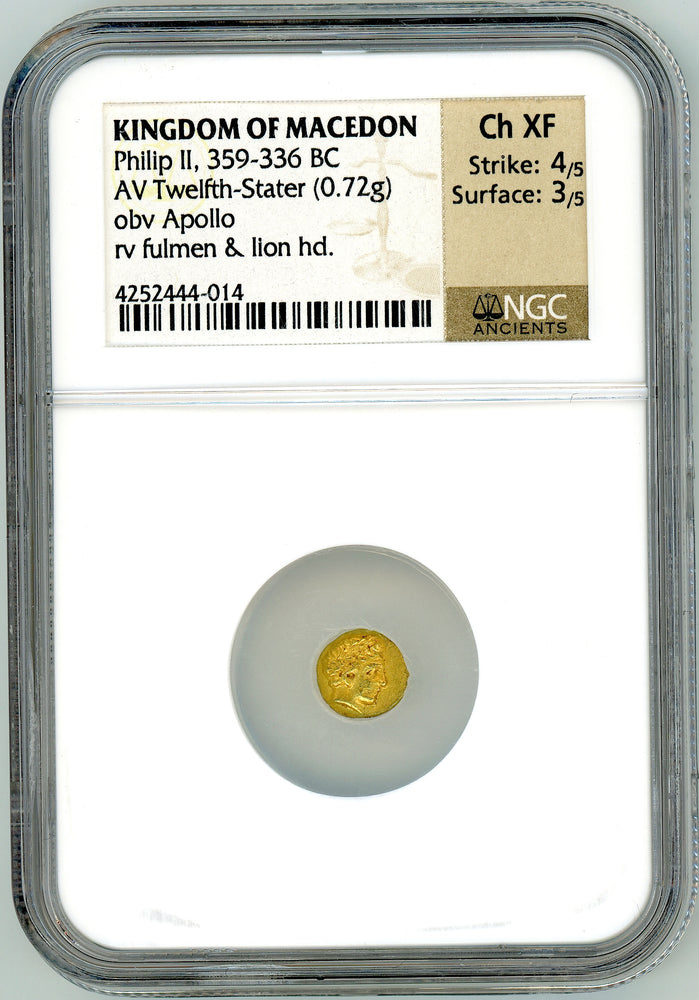 Kingdom of Macedon Philip II Gold Twelfth-Stater NGC Ch XF