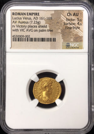 Load image into Gallery viewer, Roman Empire Lucius Verus NGC Ch AU 5x4 Fine Style