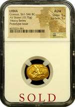 Croesus Gold Prototype Heavy Stater NGC AU Star 5x5