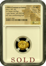 "Croesus Lion and Bull ""Light Series"" Gold Stater NGC CHMS 4x5"