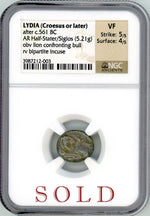 Lydia (Croesus or later) AR Half-Stater/Siglos NGC VF 5x4