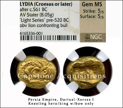 Lydia (Croesus or later) AV Stater NGC Gem MS 5x5