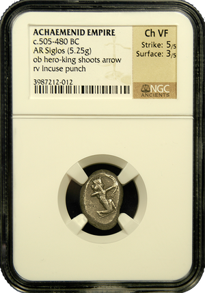 Persian Empire AR Siglos NGC Ch VF 5x3