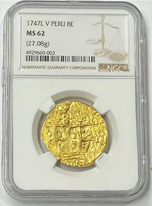 Load image into Gallery viewer, 1747 L V Peru Ferdinand VI Gold Cob 8 Escudos NGC MS62