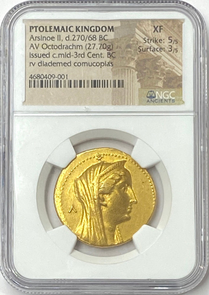 Ptolemaic Kingdom Arsinoe II Gold Octodrachm NGC XF 5x3