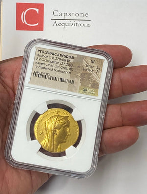 Load image into Gallery viewer, Ptolemaic Kingdom Arsinoe II Gold Octodrachm NGC XF 5x3