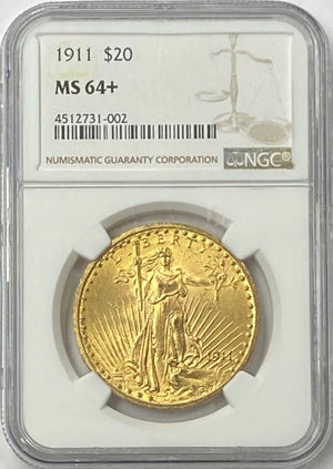 1911-P $20 Saint Gaudens Gold Double Eagle Pre-33 NGC MS64+