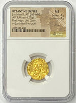 Rare Byzantine Empire Justinian II AD 685-695 Gold Solidus NGC MS