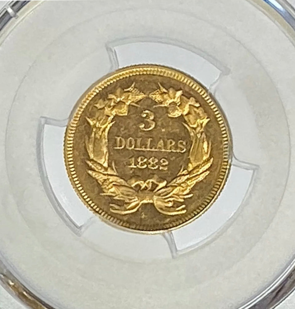 1882 $3 Indian Gold Three Dollar PCGS MS62 PL