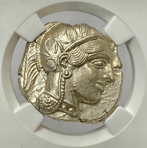 Load image into Gallery viewer, Attica Athens Owl 440-404 BC Silver Tetradrachm NGC MS* (Star) Greek Owl PQ++