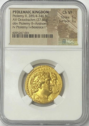 Ptolemaic Kingdom Ptolemy II 285-246 BC Gold Octodrachm NGC CHVF RARE Dynastic Portrait