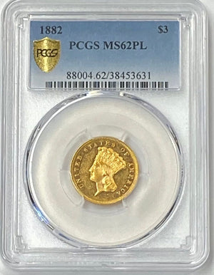 Load image into Gallery viewer, 1882 $3 Indian Gold Three Dollar PCGS MS62 PL