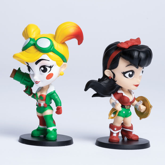 Harley Quinn and Wonder Woman Holiday Edition DC Lil Bombshells Vinyl Figures (Cryptozoic Exclusive)