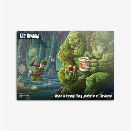 Welcome to The Swamp! This 8-card promo The Swamp Location Deck brings another iconic DC location to your copy of DC Spyfall.