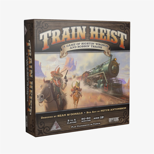 Train Heist is a cooperative board game of rightin' wrongs and robbin' trains as 2 to 4 players become a band of cowboys who work together to stop the corrupt Sheriff and the rich folks from stealing all of the townspeople's earnings.